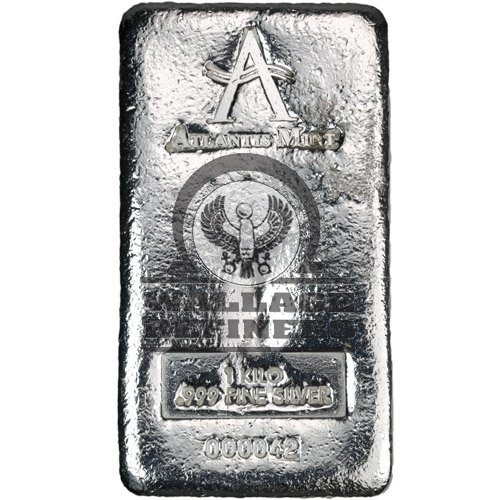 1 Kilo Atlantis Hand Poured Logo Silver Bar (New)