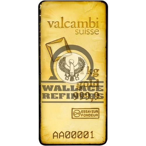 1 Kilo Valcambi Cast Gold Bar (New w/ Assay)