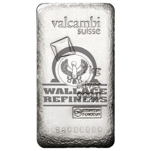 1 Kilo Valcambi Cast Silver Bar – Antique Finish (New w/ Assay)
