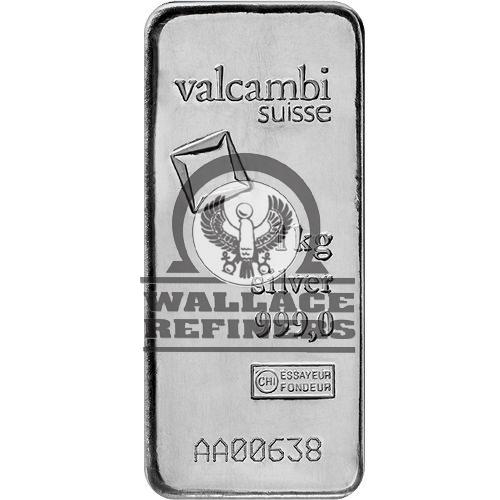 1 Kilo Valcambi Cast Silver Bar (New w/ Assay)
