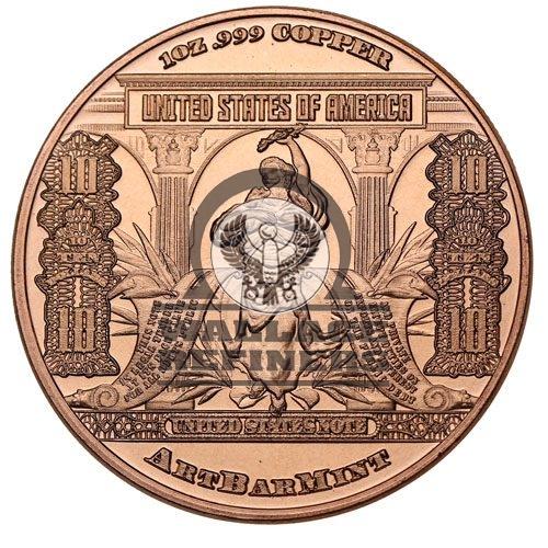 1 oz $10 Banknote Copper Round (New)