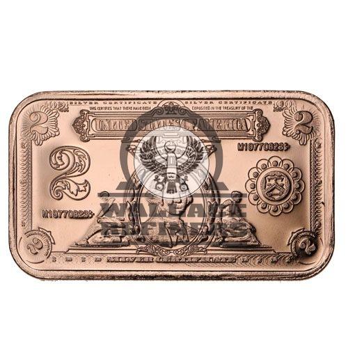 1 oz $2 Banknote Copper Bar (New)
