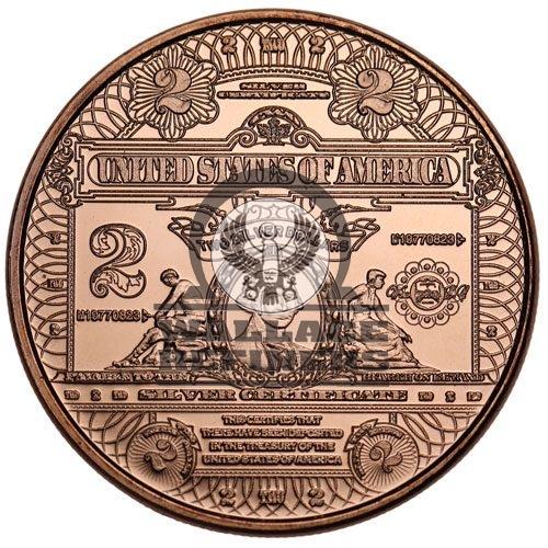 1 oz $2 Banknote Copper Round (New)