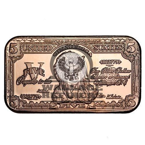 1 oz $5 Banknote Copper Bar (New)