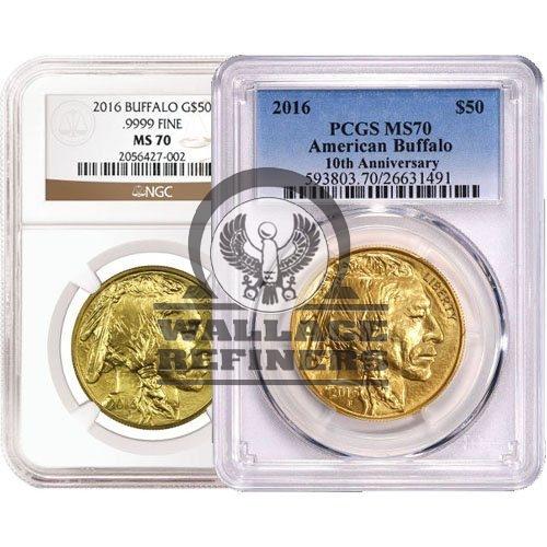 1 oz American Gold Buffalo Coin MS70 (Random Year