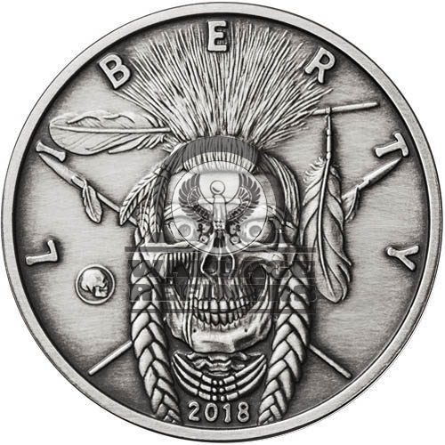 1 oz Antique American Western Skulls Indian Warrior Silver Round (New w/ CoA)