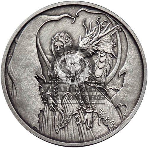 1 oz Antique Amy Brown Collection Dragon Secrets Silver Round (New w/ CoA)