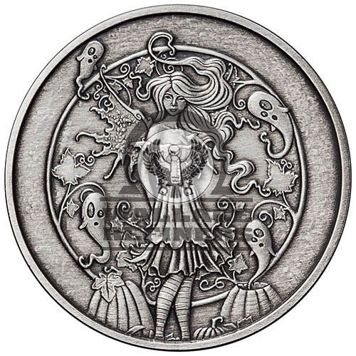 1 oz Antique Amy Brown Collection Haunted Pumpkin Patch Silver Round (New w/ CoA)