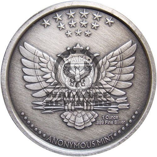 1 oz Antique Bitcoin Anonymous Owl Silver Round