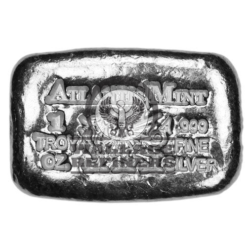 1 oz Atlantis Dragon Hand Poured Silver Bar (New)
