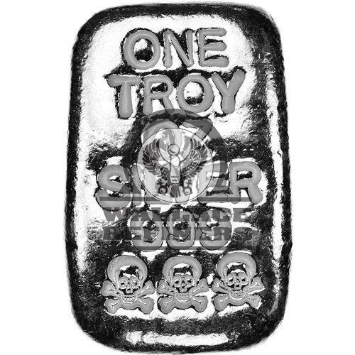 1 oz Atlantis Skull and Crossbones Hand Poured Silver Bar (New)