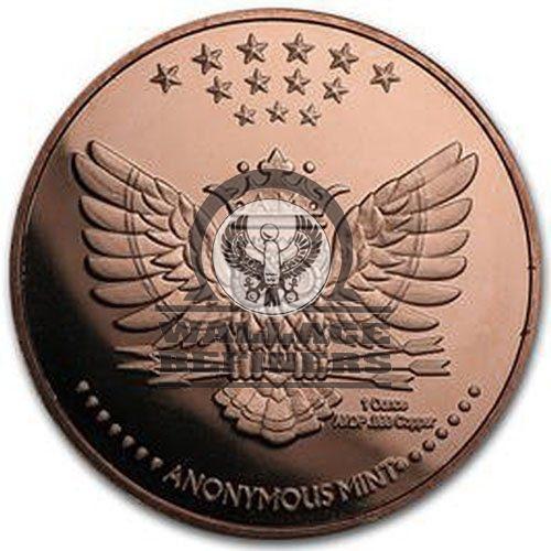 1 oz Bitcoin Anonymous Owl Copper Round (New)