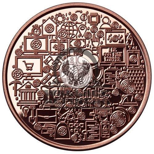 1 oz Bitcoin Icon Copper Round (New)