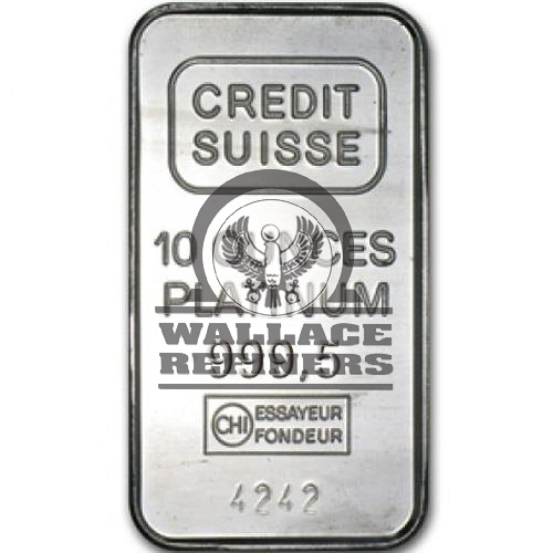 10 oz Credit Suisse Platinum Bar (New w/ Assay)