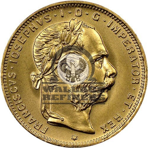 1892 20 Francs / 8 Florin Austrian Gold Coin (Avg. Circulated)