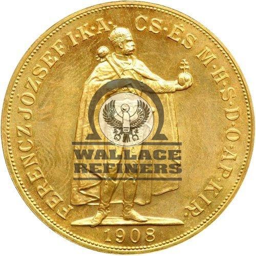 1908 Hungary 100 Korona Gold Coin (AU)