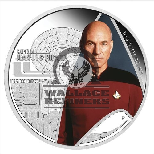 2015 1 oz Tuvalu Star Trek Captain Picard Proof Silver Coin