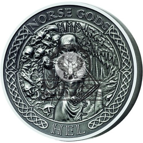 2015 2 oz Cook Islands Silver Norse God Hel Proof Coin (Ultra High Relief)