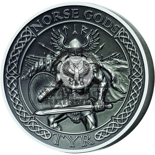2015 2 oz Cook Islands Silver Norse God Tyr Proof Coin (Ultra High Relief)