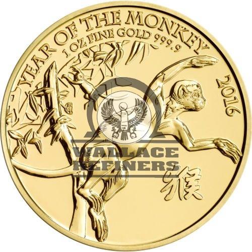 2016 1 oz British Gold Lunar Monkey Coin (BU)
