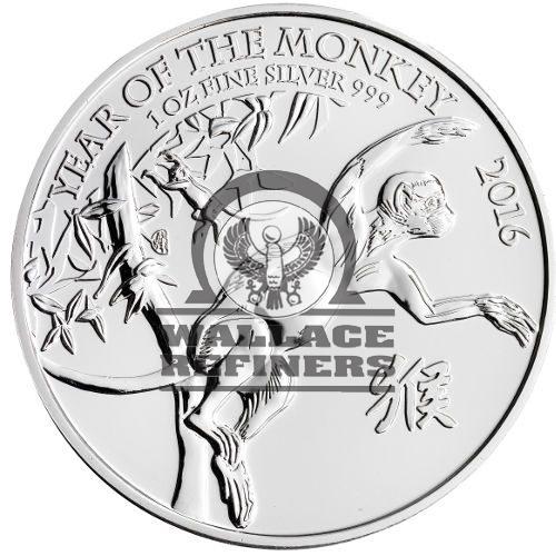 2016 1 oz British Silver Lunar Monkey Coin (BU)
