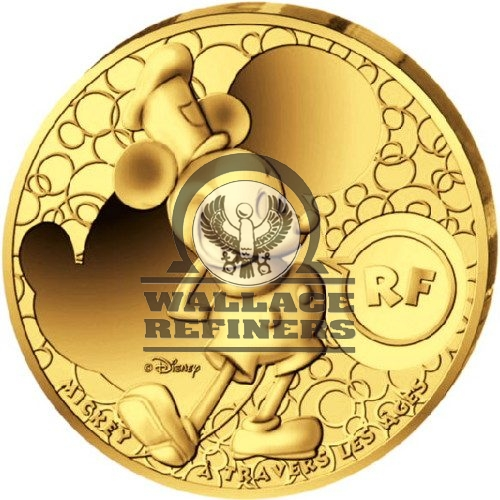 2016 1 oz Proof French Gold Mickey Mouse Through the Ages Coin (Box + CoA)