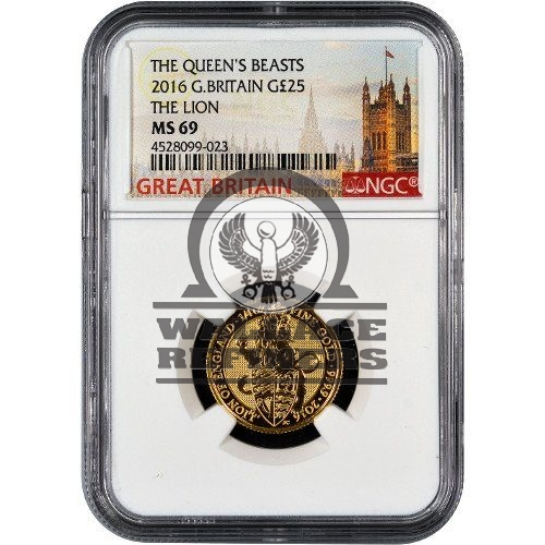 2016 1/4 oz British Gold Queen's Beast Lion Coin NGC MS69