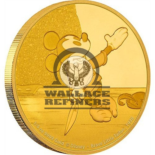 2016 1/4 oz Niue Mickey Mouse Brave Little Tailor Series Gold Proof Coin (Box + CoA)