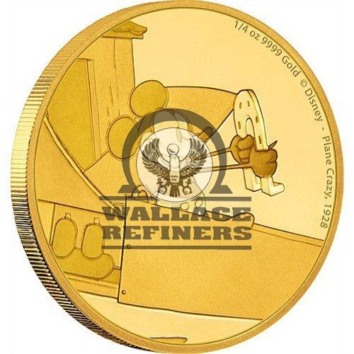 2016 1/4 oz Niue Mickey Mouse Plane Crazy Series Gold Proof Coin (Box + CoA)