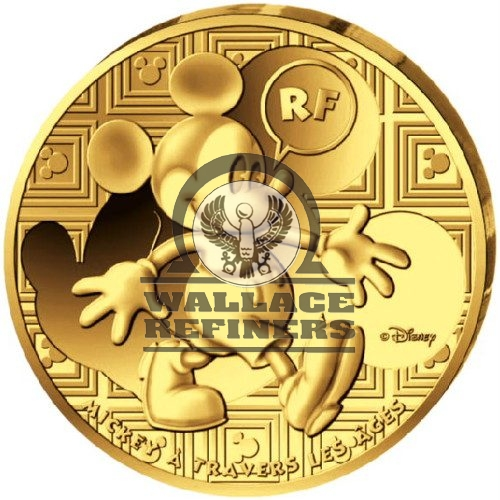 2016 1/4 oz Proof French Gold Mickey Mouse Through the Ages Coin (Box + CoA)