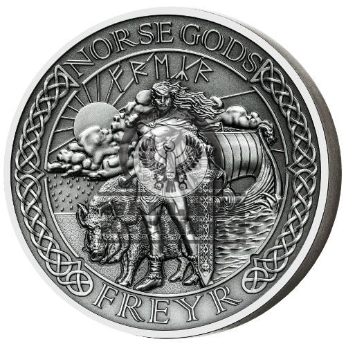 2016 2 oz Cook Islands Silver Norse God Freyr Proof Coin (Ultra High Relief)