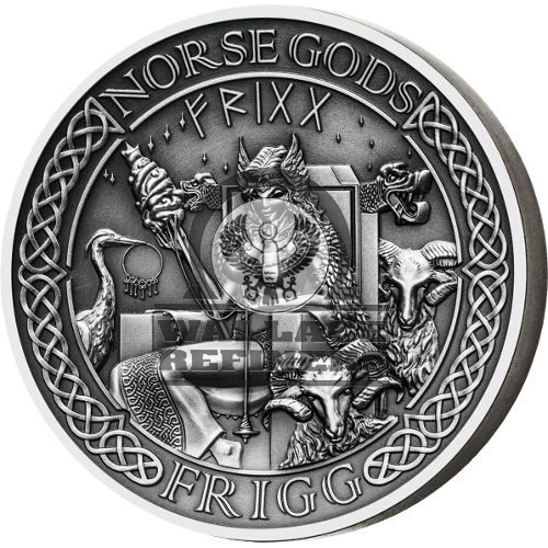 2016 2 oz Cook Islands Silver Norse God Frigg Proof Coin (Ultra High Relief)