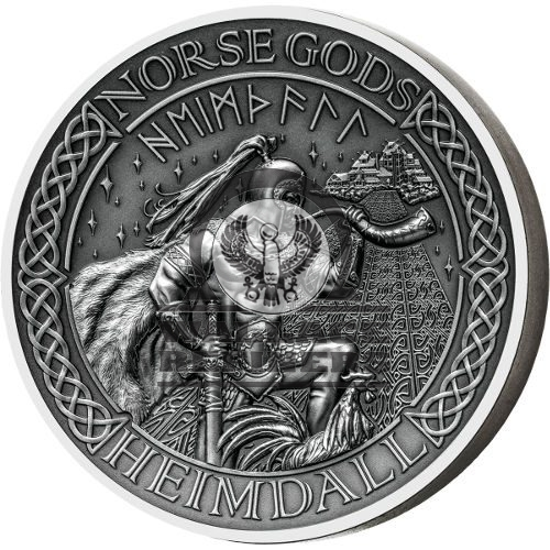 2016 2 oz Cook Islands Silver Norse God Heimdall Proof Coin (Ultra High Relief)