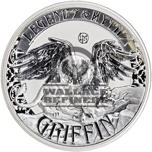 2016 2 oz Reverse Proof Solomon Islands Silver Legends and Myths Griffin Coin (Box + CoA)