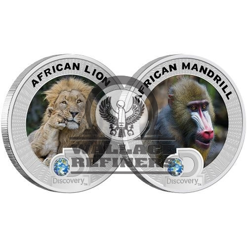 2016 3 oz Silver Discovery Endangered Species of Africa Mandrill and Lion Set (Box + CoA)
