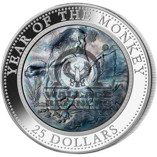 2016 5 oz Cook Islands Mother of Pearl Monkey Silver Coin (BU)
