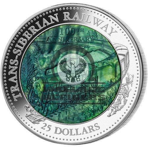 2016 5 oz Proof Cook Islands Mother of Pearl 100th Anniv. Trans-Siberian Railway Silver (Box + CoA)