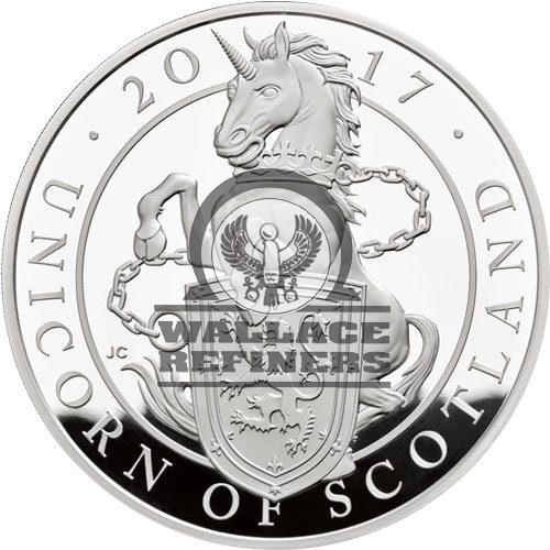2017 1 Kilo Proof British Silver Queen's Beast Unicorn Coin (Box + CoA)