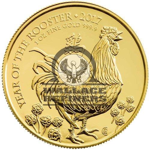 2017 1 oz British Gold Lunar Rooster Coin (BU)