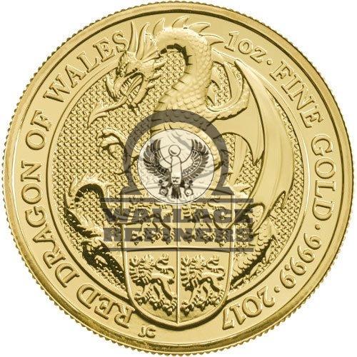 2017 1 oz British Gold Queen's Beast Dragon Coin (BU)