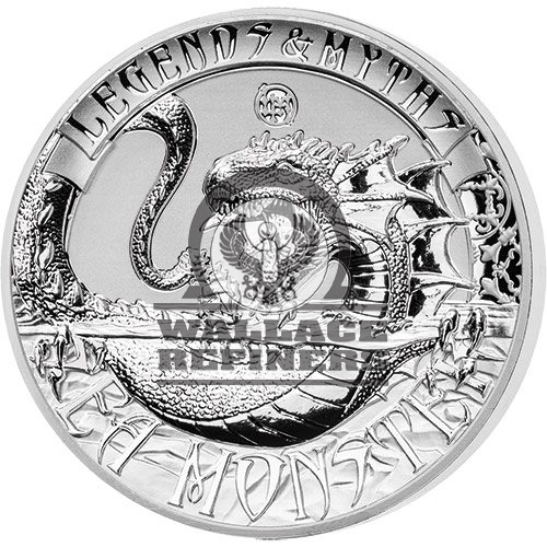 2017 2 oz Reverse Proof Solomon Islands Silver Legends and Myths Sea Monster Coin (Box + CoA)
