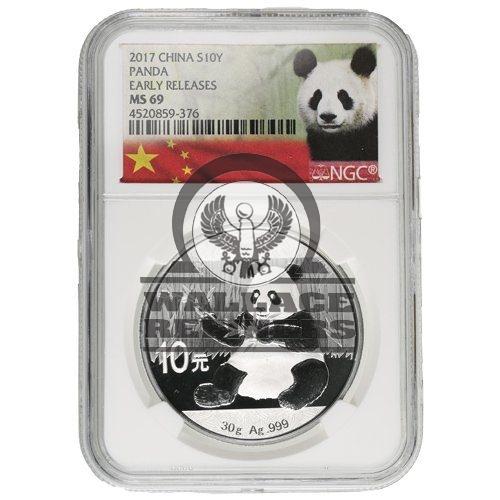 2017 30 Gram Chinese Silver Panda Coin NGC MS69 ER
