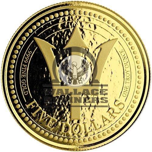2018 1 oz Barbados Trident Gold Coin (BU)
