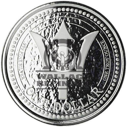 2017 Barbados $1 1oz Trident Silver Bullion Coin