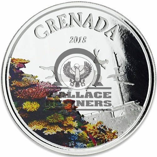2018 1 oz Colorized Grenada Silver Diving Paradise Coin (Box + CoA)