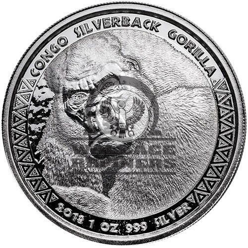 Prooflike 2019 1 oz Silver Republic of Congo Silverback Gorilla