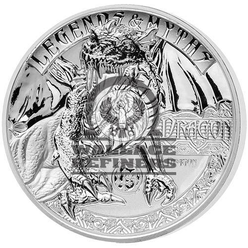 2018 2 oz Reverse Proof Solomon Islands Silver Legends and Myths Dragon Coin (Box + CoA)