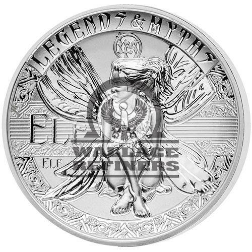 2018 2 oz Reverse Proof Solomon Islands Silver Legends and Myths Elf Coin (Box + CoA)