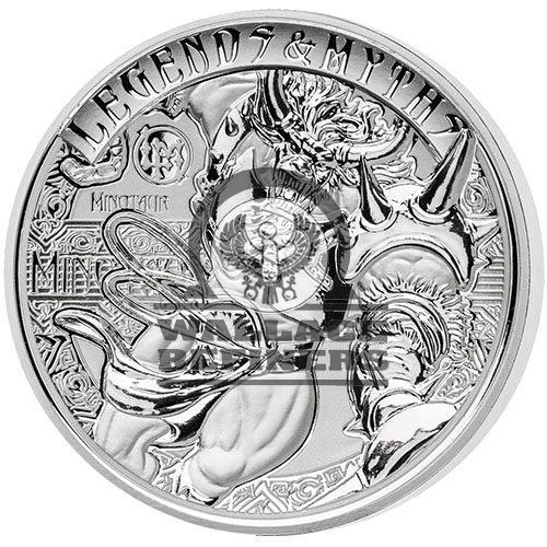 2018 2 oz Reverse Proof Solomon Islands Silver Legends and Myths Minotaur Coin (Box + CoA)