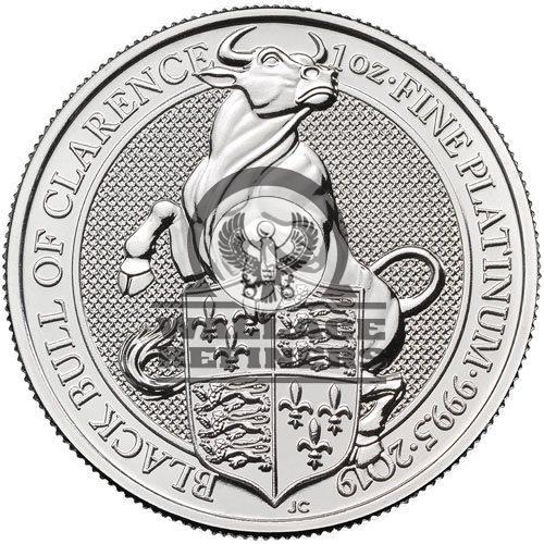 2019 1 oz British Platinum Queen's Beast Black Bull Coin (BU)